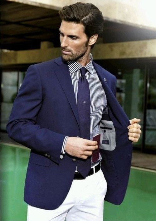 Men's Navy Blazer, Navy Vertical Striped Long Sleeve Shirt, White ...
