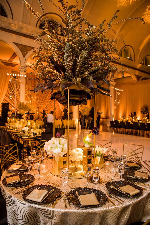 Glamorous Art Deco Inspired Wedding In Downtown Los Angeles Inside Weddings Art Deco Party Art Deco Wedding Decor Art Deco Wedding Centerpieces