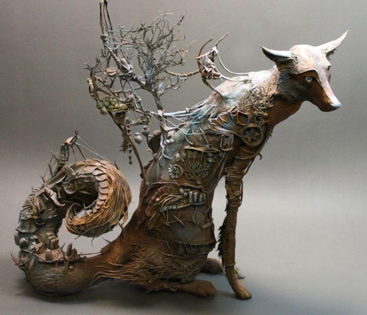 Thefoxescuriousityjpg Sanat Pinterest Pottery Animals - Surreal animal plant sculptures ellen jewett