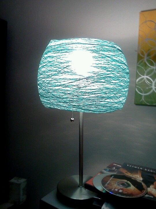 Diy lamp shade crochet string and glue starch mold the shape how you want it balloonsand spray adhesive and wrap then pop the balloon and remove