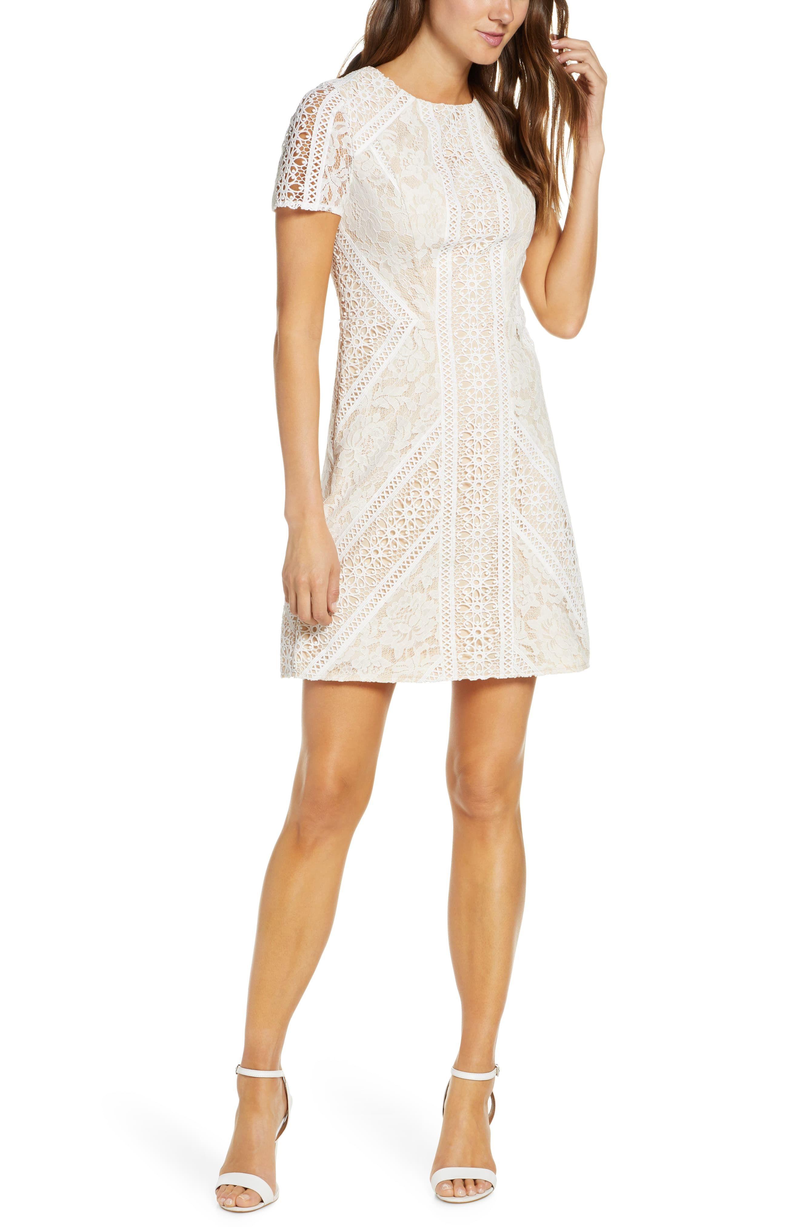 Eliza J Lace Short Sleeve Shift Dress Available At Nordstrom Mini Dress Lace Shift Dress Cocktail Dress Lace [ 4048 x 2640 Pixel ]