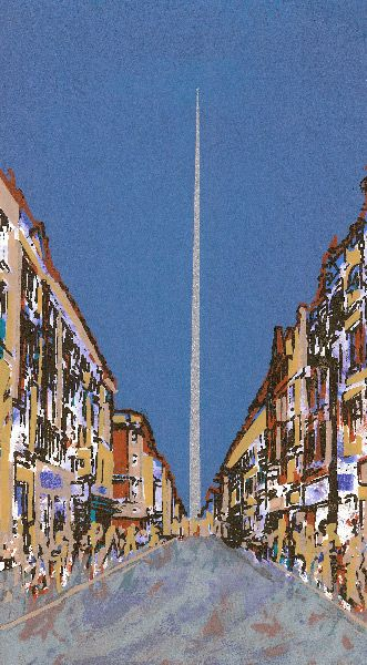 The Spire! captured wonderfully in this screenprint by Bernadette Madden called 'Monument of Light' www.designyard.ie