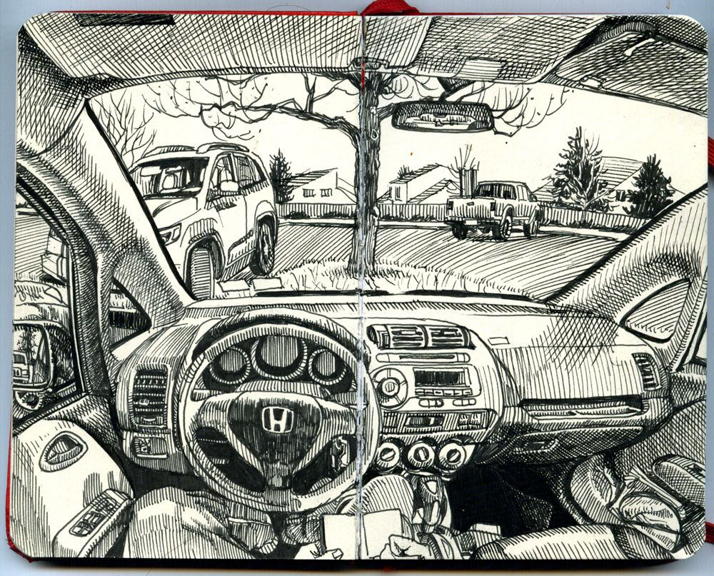 Paul Heaston Drawing In The Car In Denver Colorado Dessin