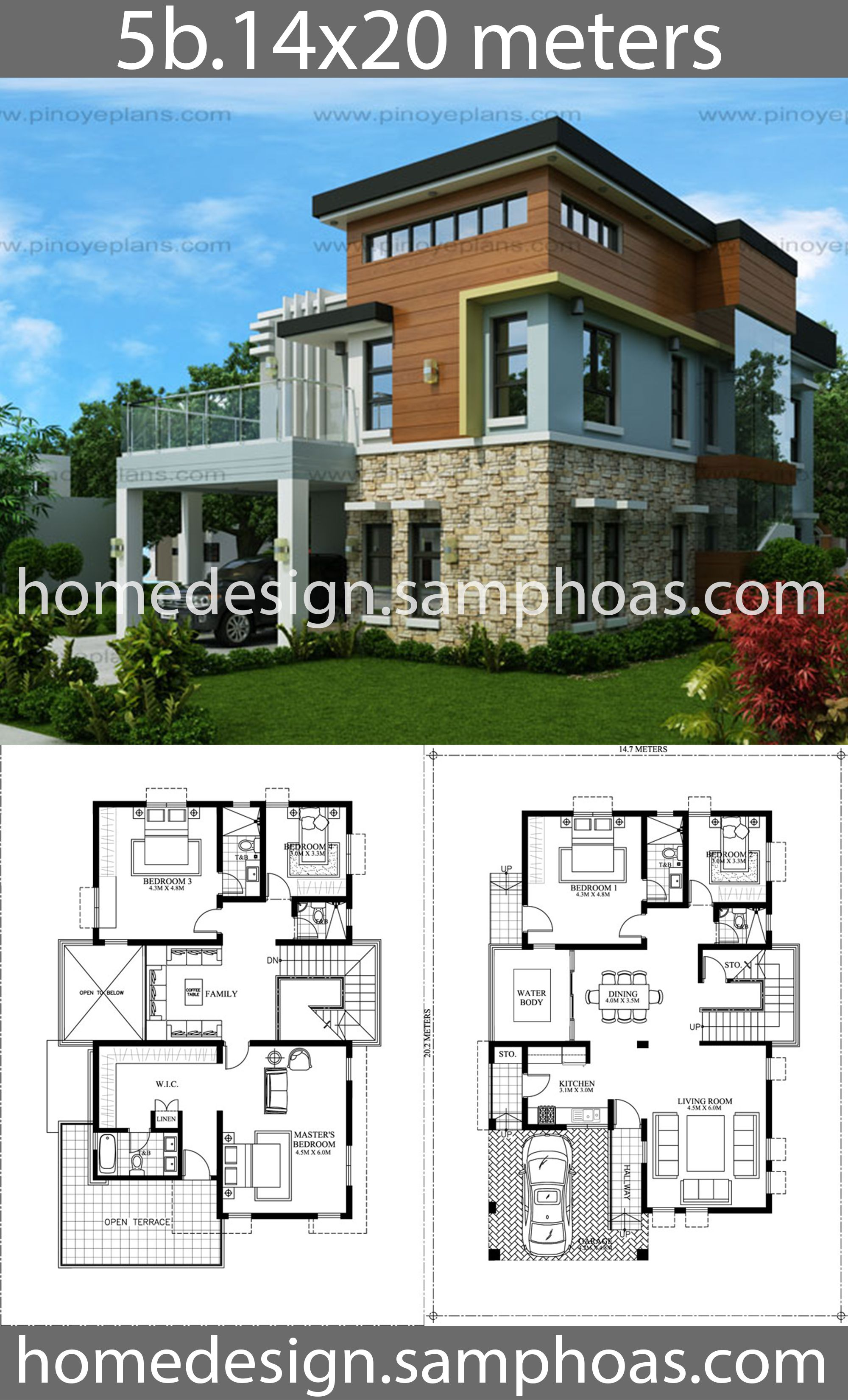 House Design Plans 14x20m With 5 Bedrooms Beautiful House Plans Home Design Plans House Design