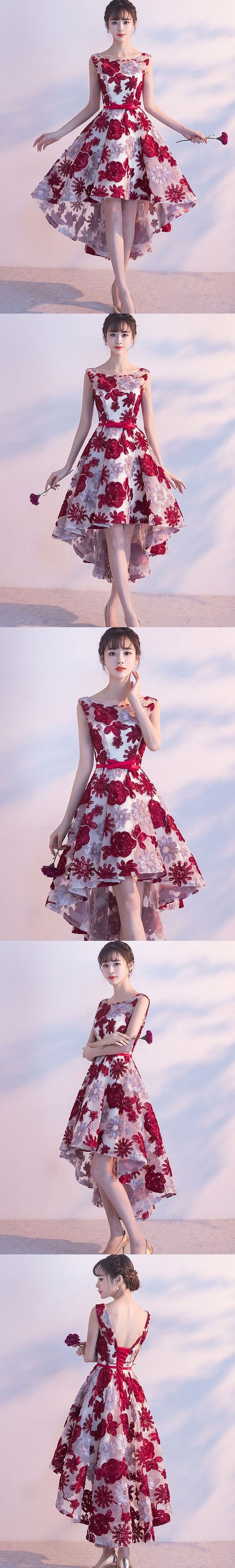 High low homecoming dresses burgundy lace short prom dress party