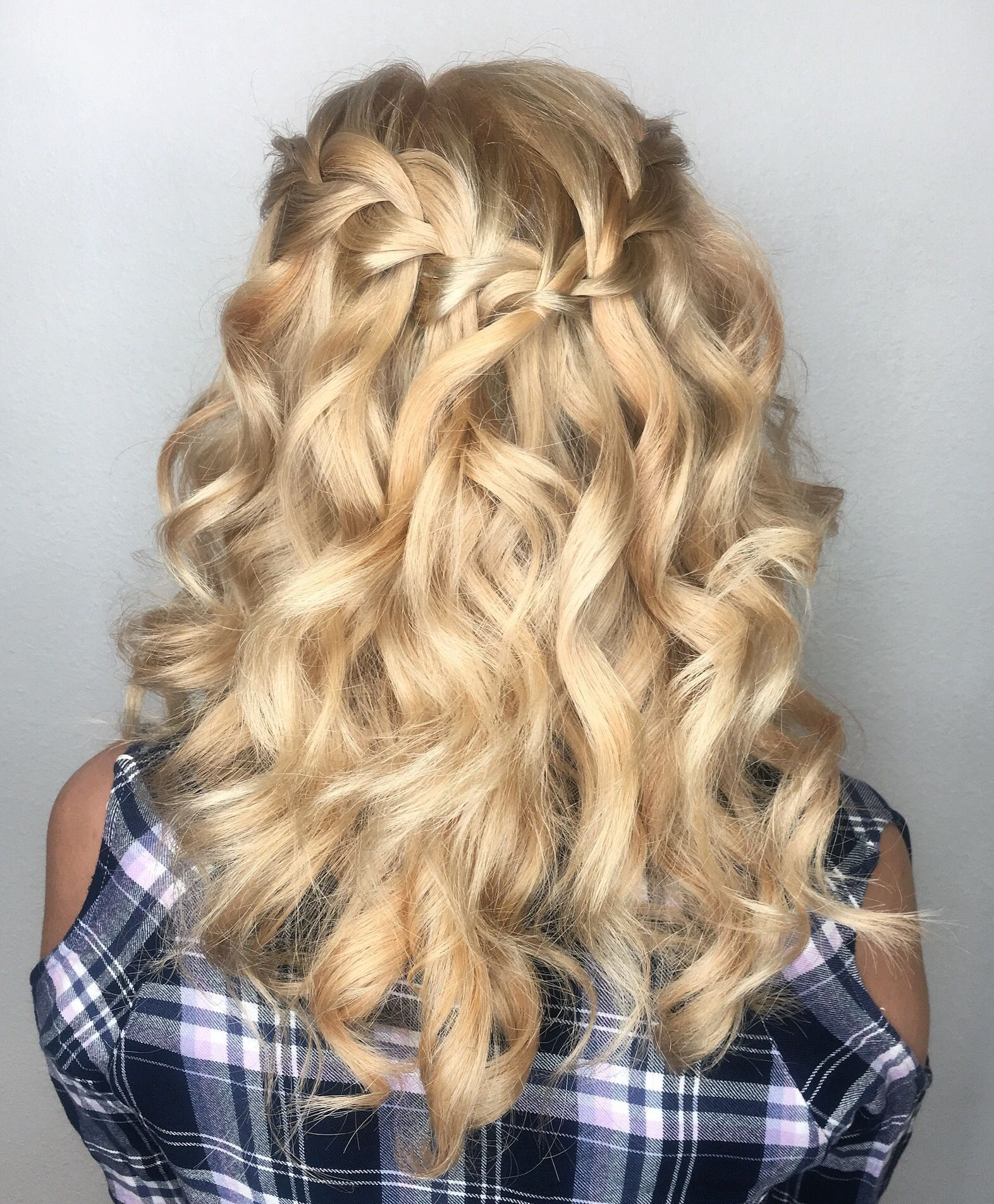 Waterfall braid. Braided hairstyles. Half up half down ...