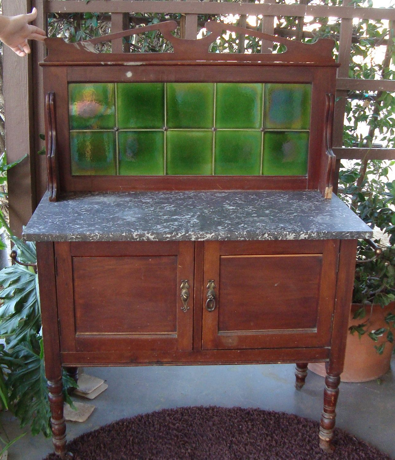 ANtique Arts and Crafts Era Wash Stand Dry Sink W/ Grueby Tiles ...