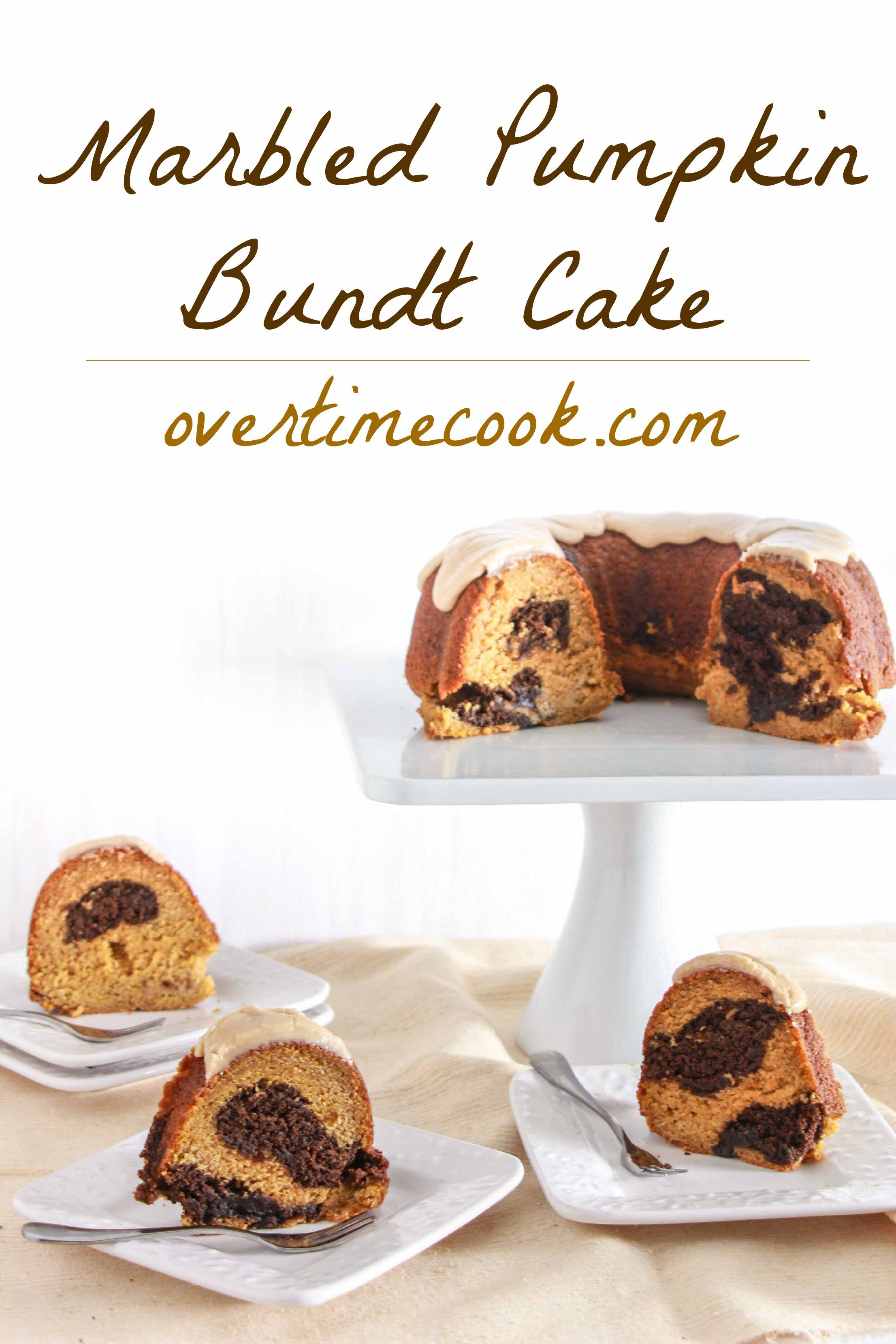 Marbled Pumpkin Bundt Cake on OvertimeCook - what a perfect Thanksgiving treat!