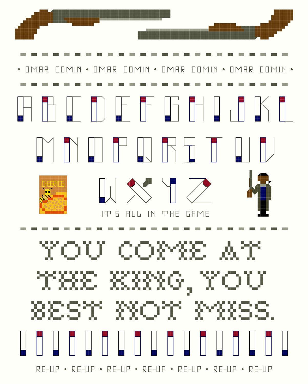 Cross Stitch Sampler, 3 Pattern Set -- Omar Little, The Wire ...