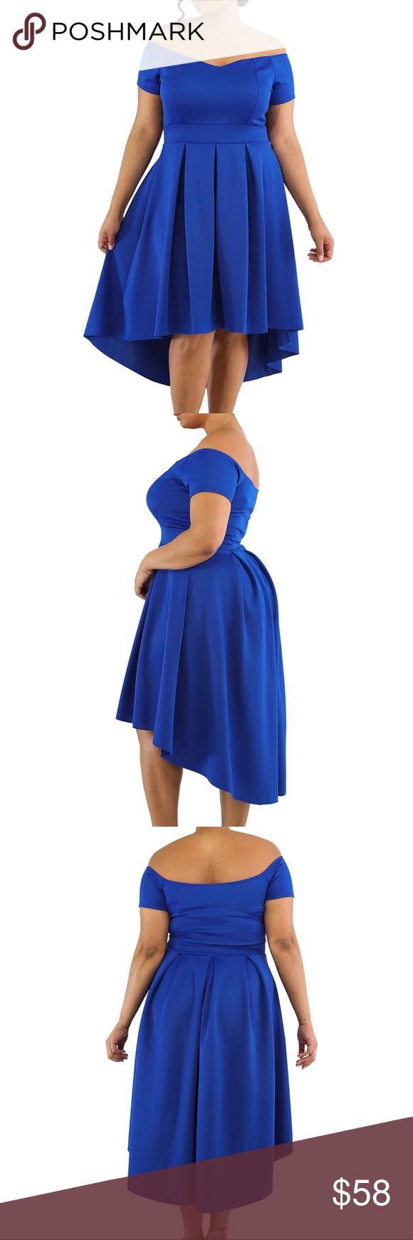 e4c7faf29f8e3 💙Plus Sexy Curve Off Shoulder Hi-Lo Dress