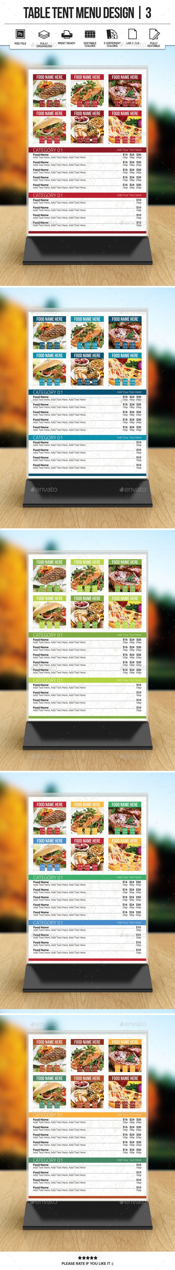 Table Tent Menu Design    Table Tents Menu And Tents