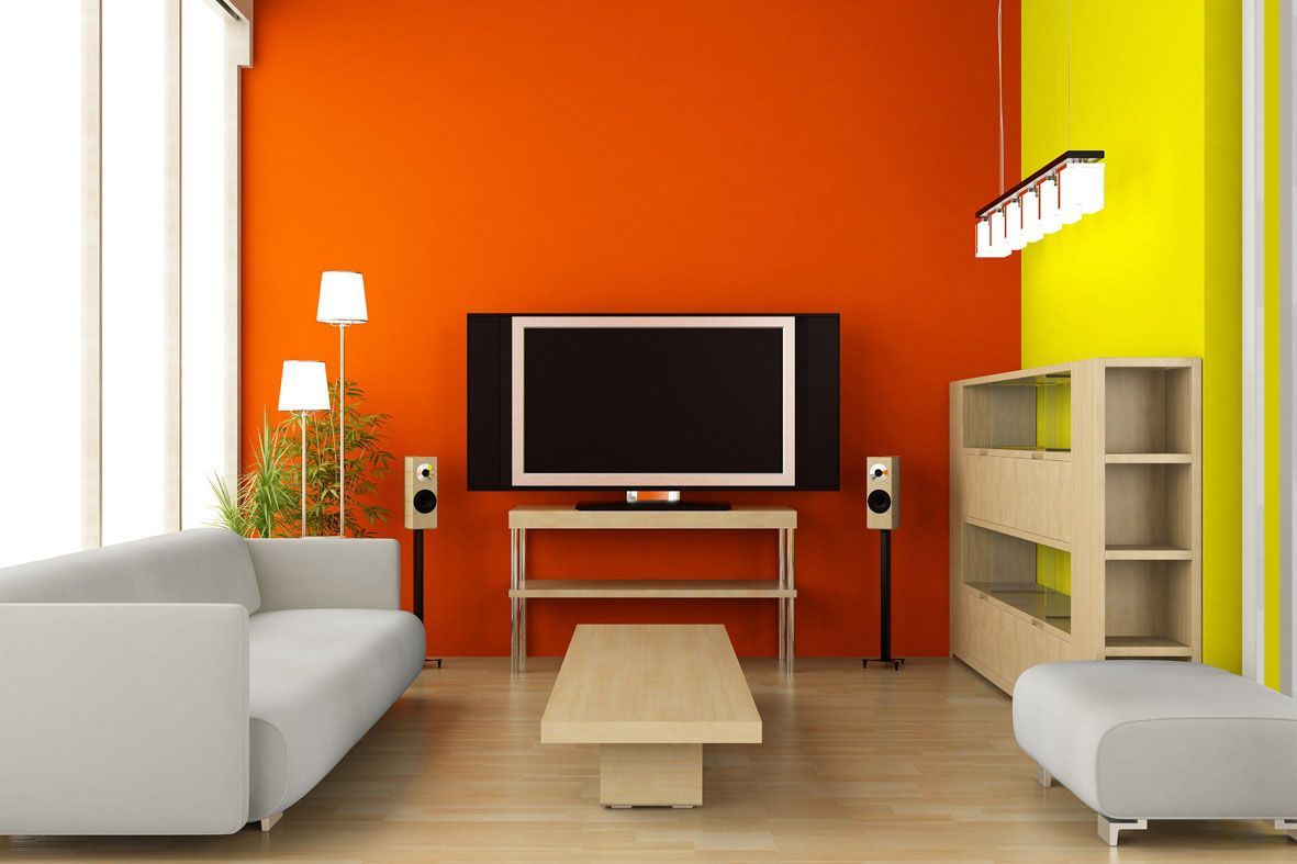 Futuristic living room yellow orange interior design color scheme with white leather sofa and tv stand