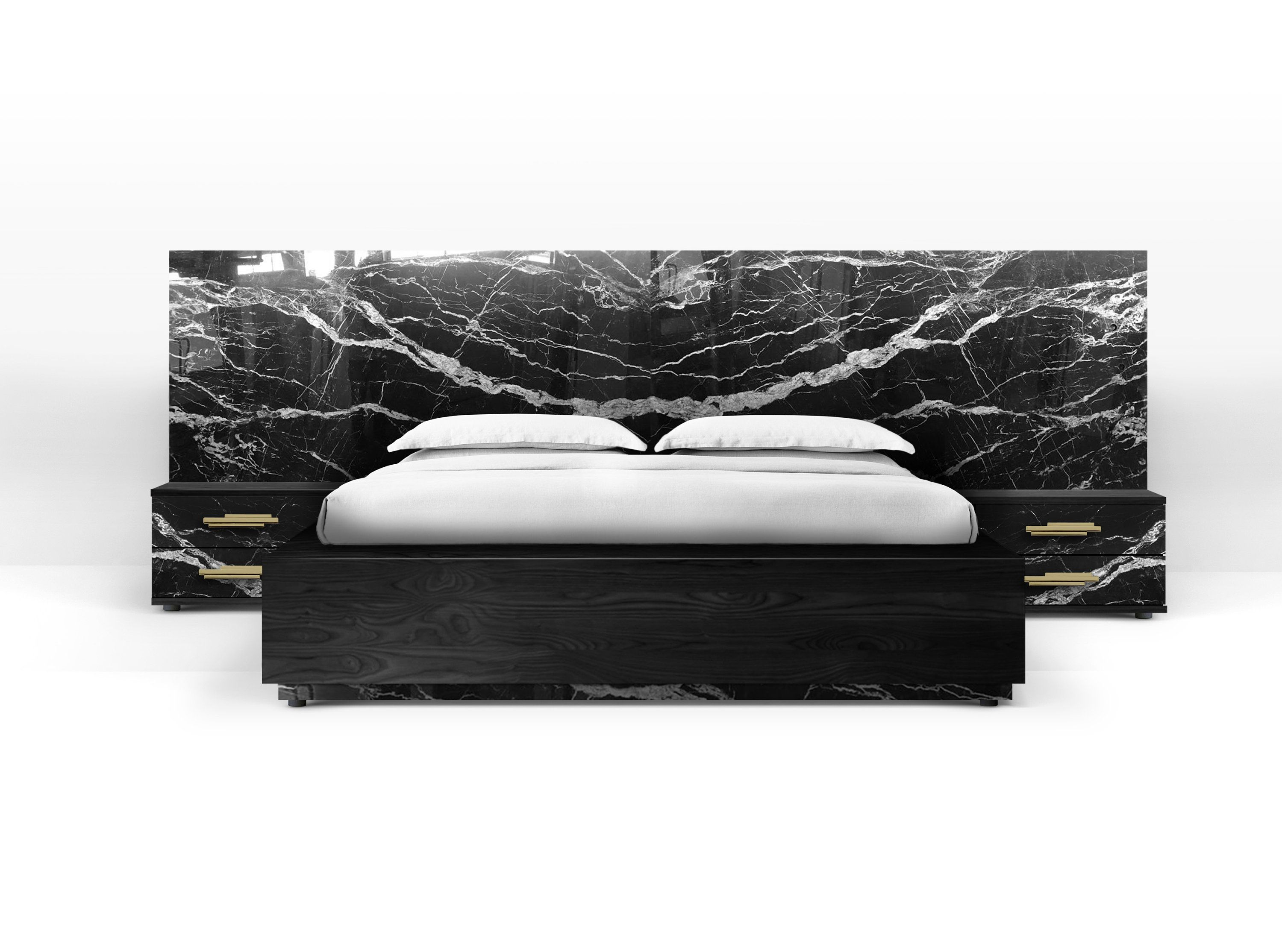 Contemporary Dettifoss Bed Frame With Bedside Tables Marble Bed