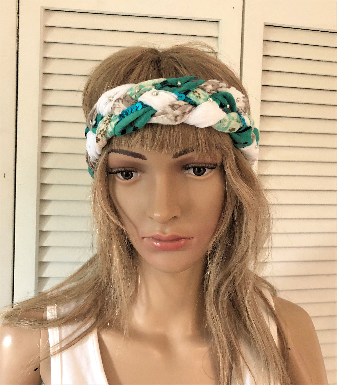 Boho Braided Headband For Women Free People Style Colorful Etsy Headbands For Women Braided Headband Braided Fabric Headbands