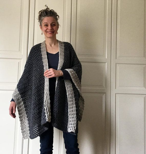 Crochet Wrap PATTERN, Crochet Sweater Pattern, Blanket Shawl, Shrug, Poncho, Ruana, Cardigan, Crochet for Women, Crochet Garments, PDF, DIY #crochetsweaterpatternwomen