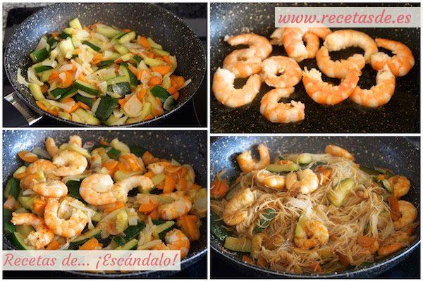 Fideos De Arroz Chinos Con Gambas Y Verduras Recetas Asiaticas Fideos De Arroz Arroz Chino