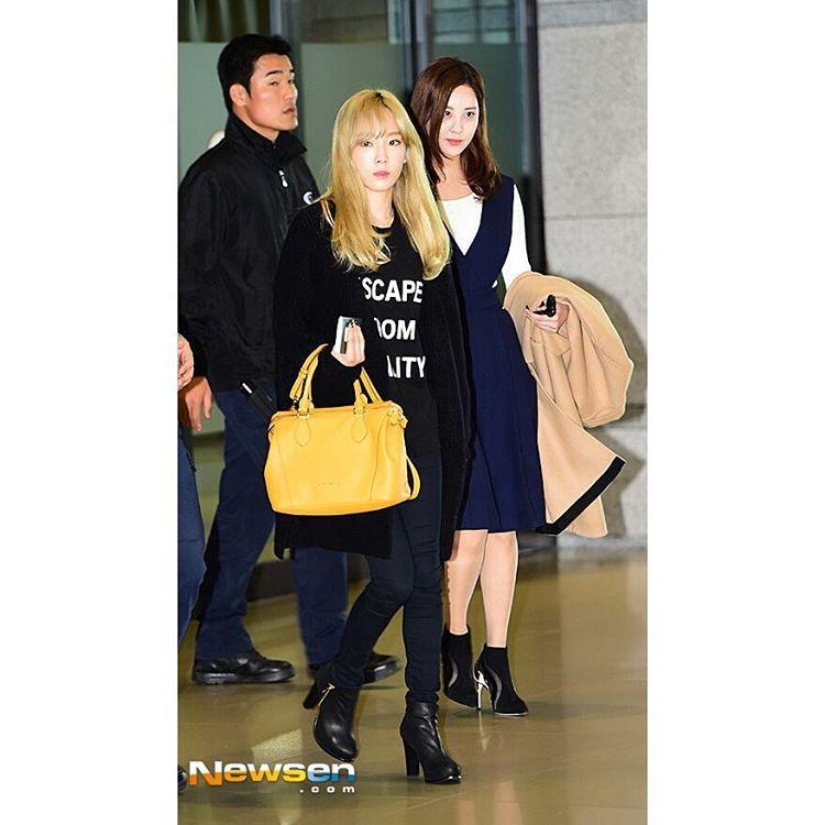 Girls Generation On Instagram 151029 صور تايتيسيو في مطار شنغهاي تاريخ 2015 10 28 سنسد Girls Generation 1 Girl Girl
