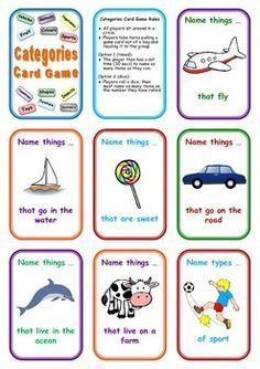 FREE Categories Card Game: Name Things That ... Repinned by SOS Inc. Resources