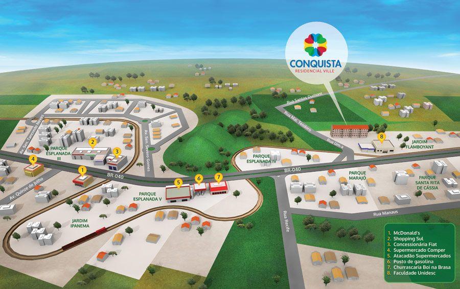 mapa 3d Mapa 3D Conquista   Direcional Engenharia Mapa 3D desenvolvido  mapa 3d