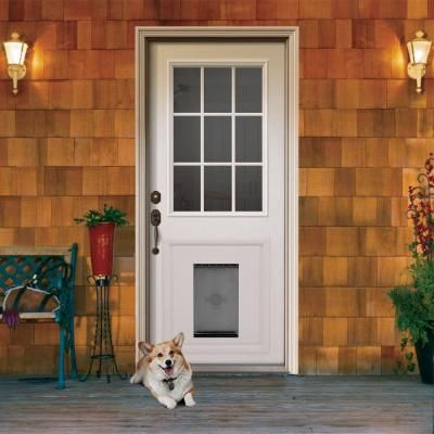 Jeld Wen 9 Lite Primed White Steel Entry Door With Medium Pet Door