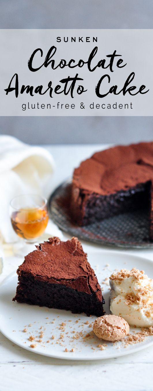 Sunken Chocolate Amaretto Cake from Nigella Lawson #nigella #nigellalawson #glutenfree #chocolate #amaretto