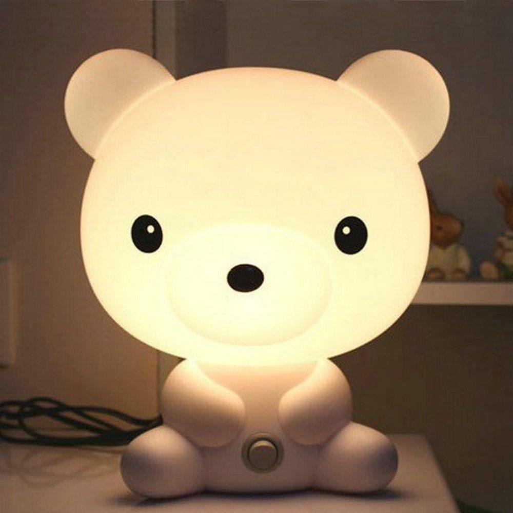Kids Bedroom Nightlight Cartoon Bear Led Touch Desk Table Lamp