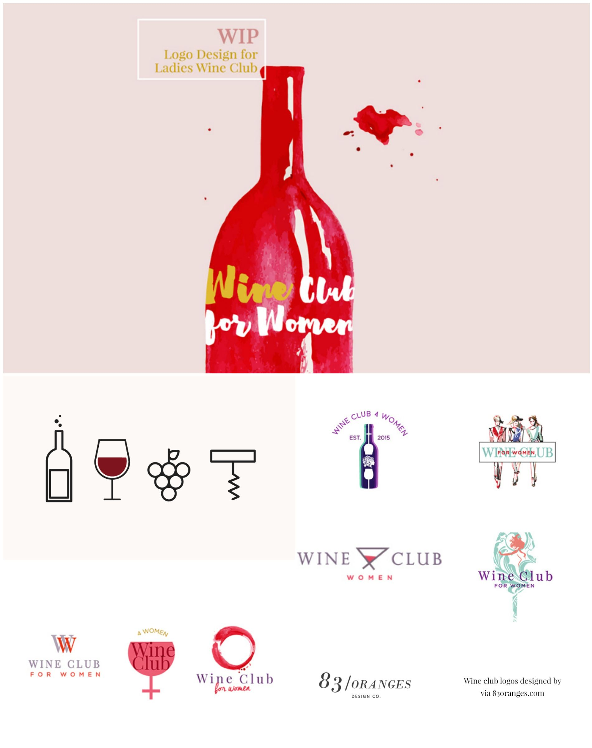Creative Logo Designs For A Wine Club Designed By 83oranges Com Repin Design Branding