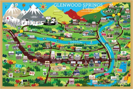 Glenwood Springs Map Cartoon tourist map of Glenwood Springs, CO (photo courtesy of   Glenwood Springs Map