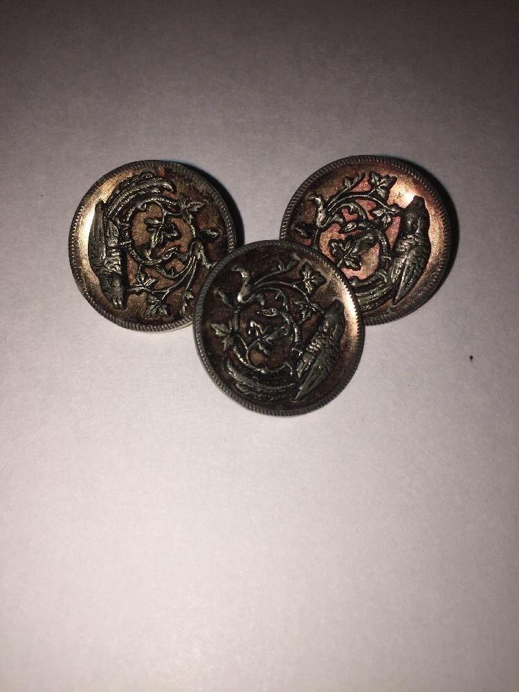 Vintage Collectible Brass Bird & Flower Sceen Buttons - GERMAN 'EINGETR MUSTER' #EINGETRMUSTER