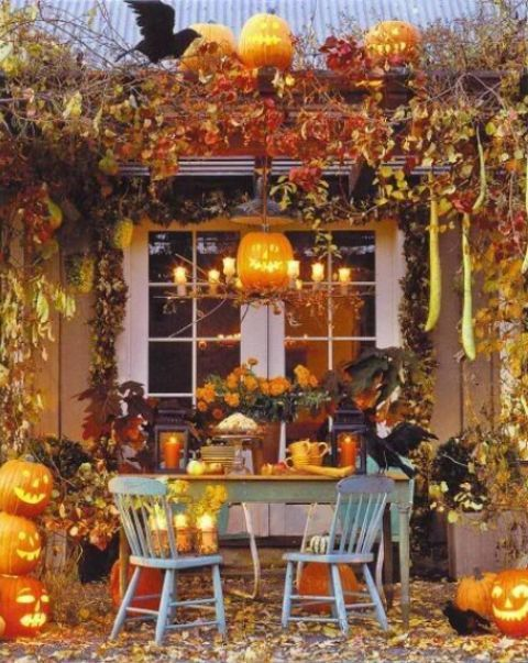 28 Wonderful Outdoor Halloween Party Ideas : Outdoor Halloween Party With  Wooden Green Table Chair And Hanging Orange Pumpkins Ornament