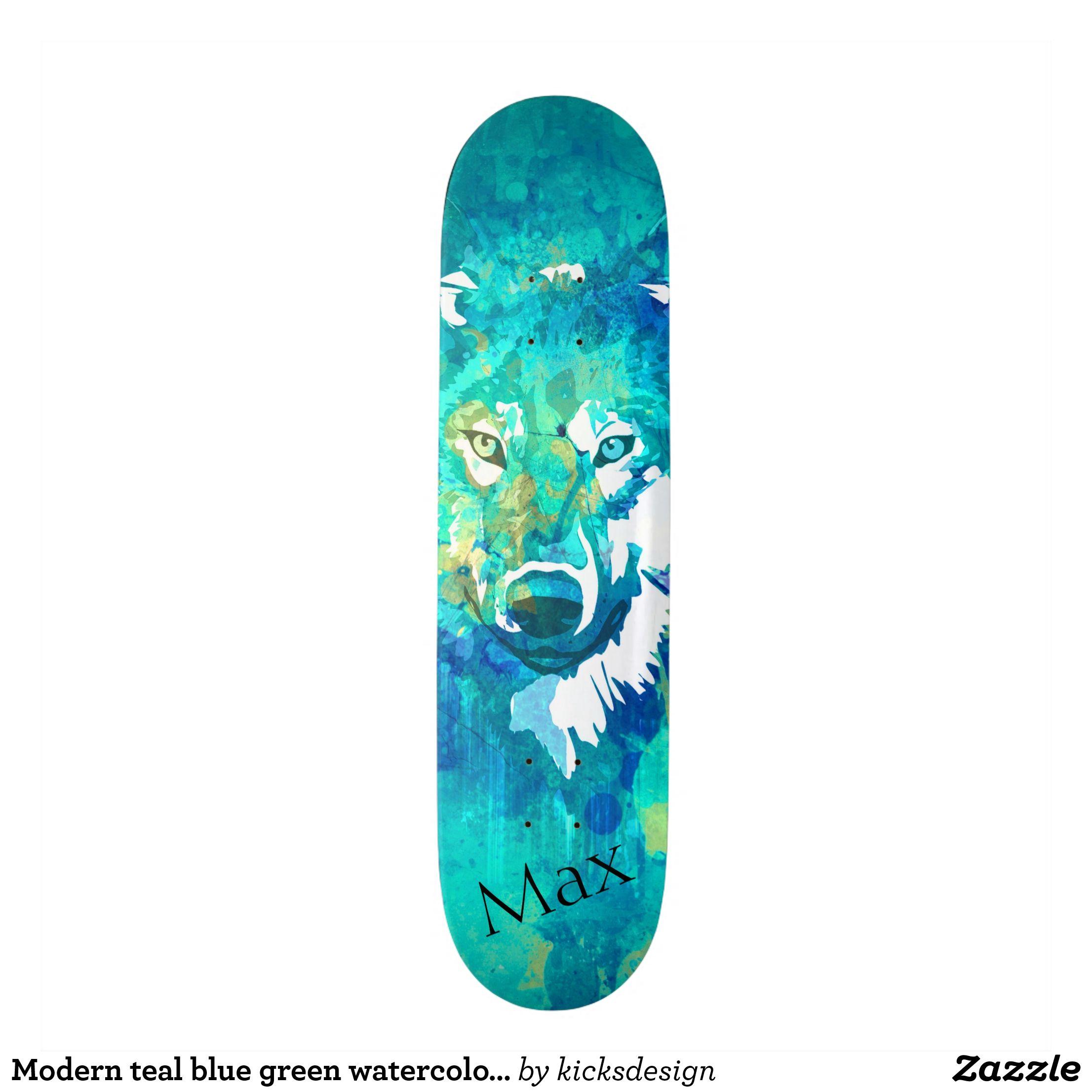 Modern Teal Blue Green Watercolor Wolf Skateboard Zazzle Com Skateboard Art Design Watercolor Wolf Green Watercolor