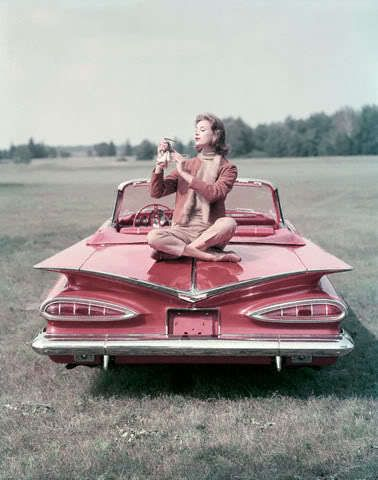 1950s pink vintage car