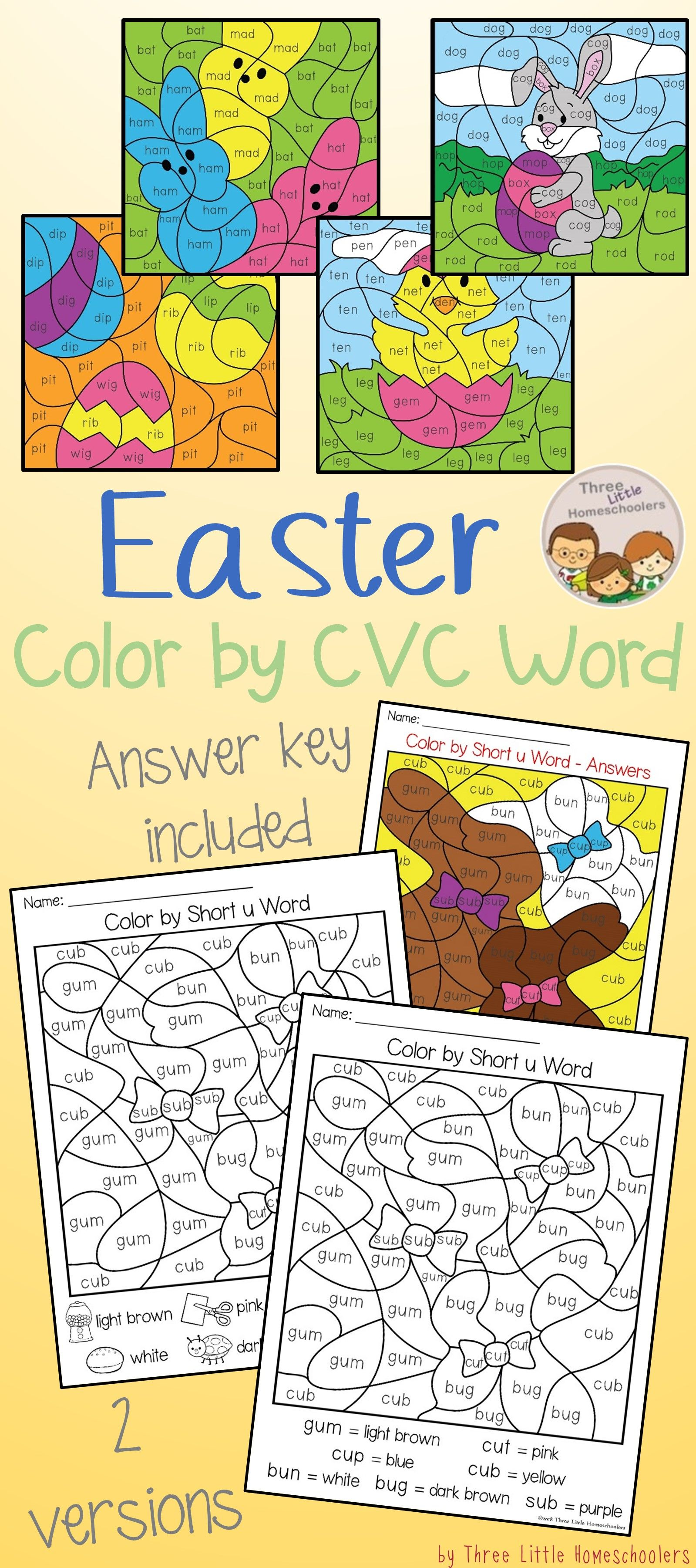 Easter Color By Cvc Word Puzzles Covering Short A E I O