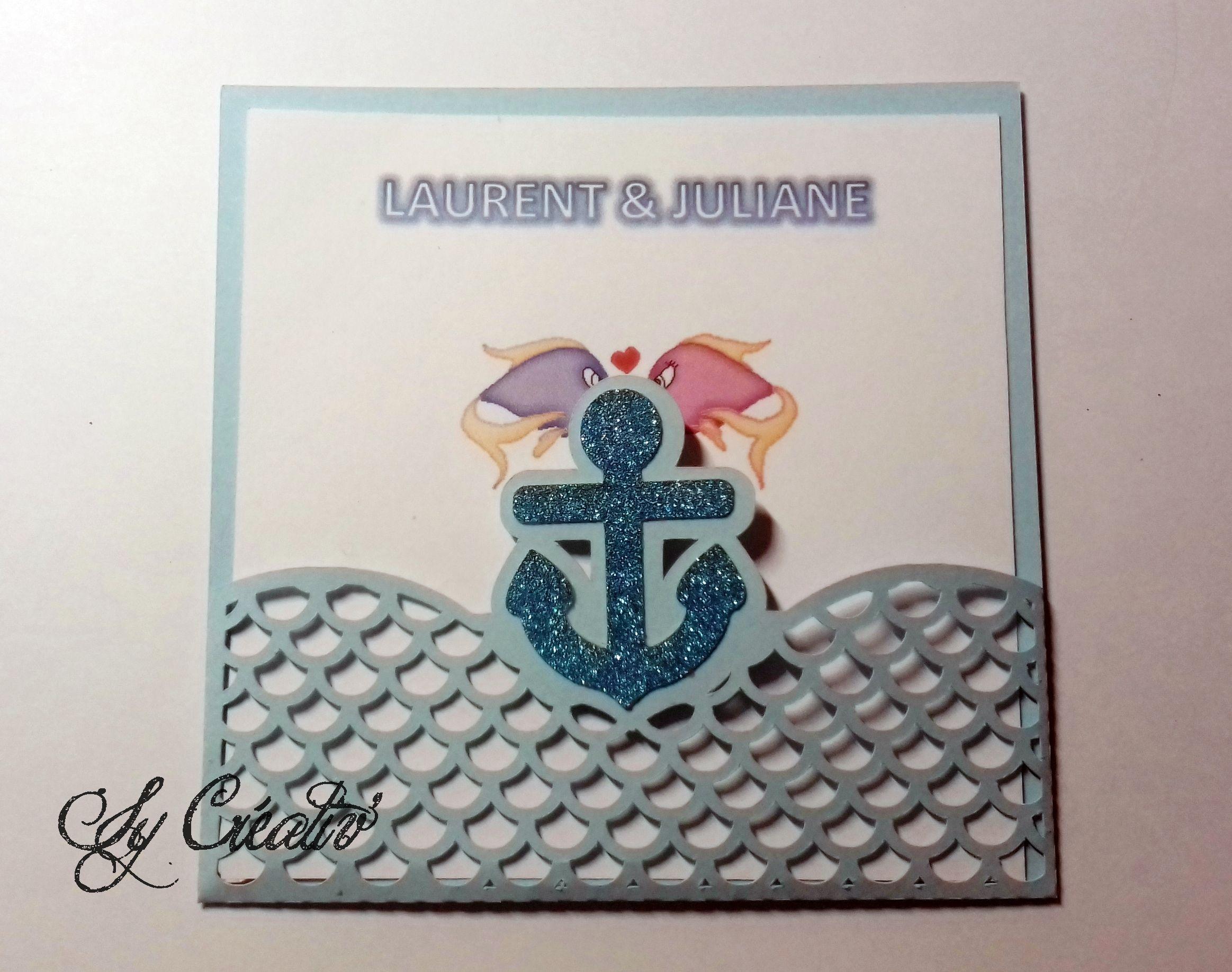 10 INVITATIONS / FAIRE-PARTS mariage pochette thème la mer, marin, ancre, bleu et blanc, poissons, prénoms,couleur au choix