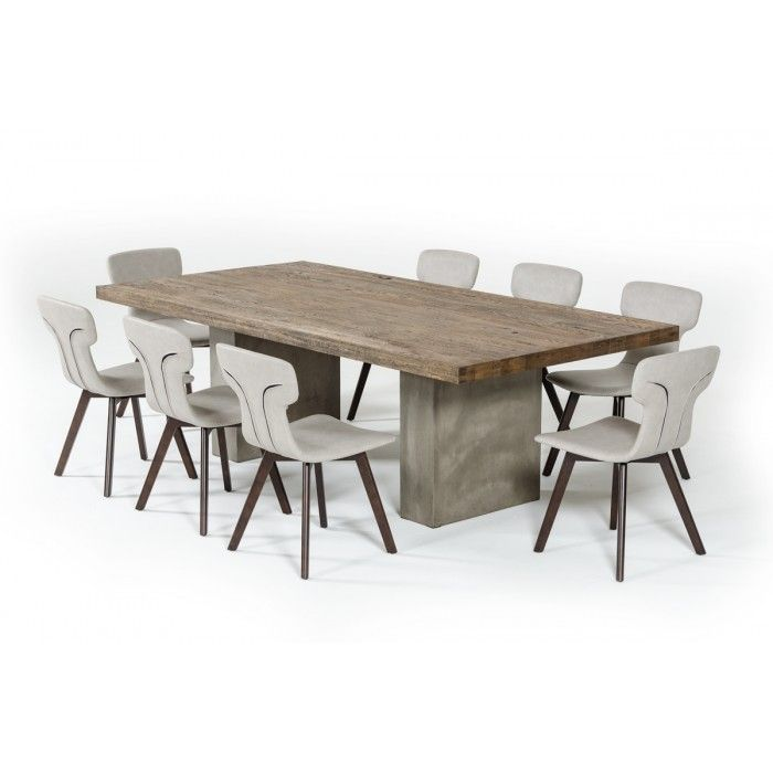 Modrest Renzo Modern Oak Concrete 79 Dining Table Concrete