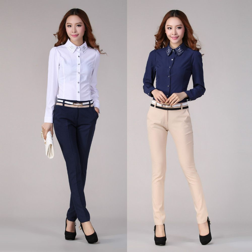 2013 Autumn Winter Women OL Workwear Elegant Career Set Fashion Slim Work Wear  Long-sleeve Shirt Blouse Female Pants Trousers(China (Mainlan. 4f0f98c31