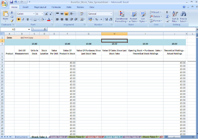 stocktake spreadsheet templates in excel format