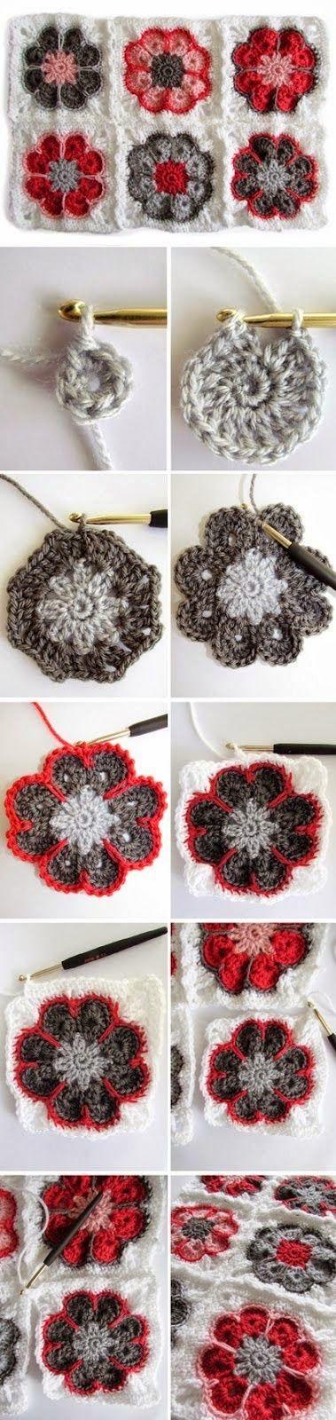 Melhor do Crochê: Colcha com Flor Africana - PAP   Croche ...