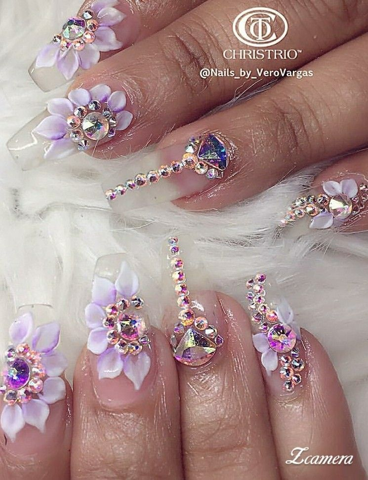 Pin By Jessica On Disenos De Unas Bling Nails Pretty Acrylic Nails Floral Nails