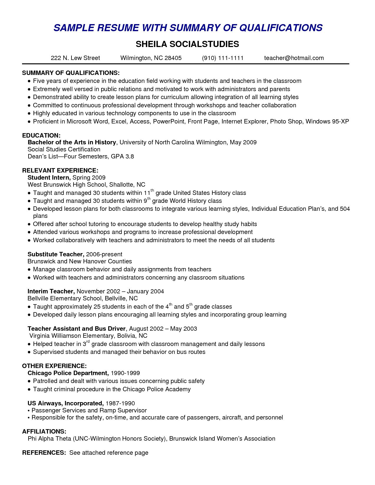 Sample Resume Summary Resume Skills Summary Examples Example Of Skills Summary For
