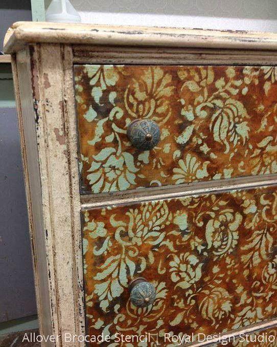 Allover Brocade Furniture Stencil   Las plantas, Pequeños y Plantas