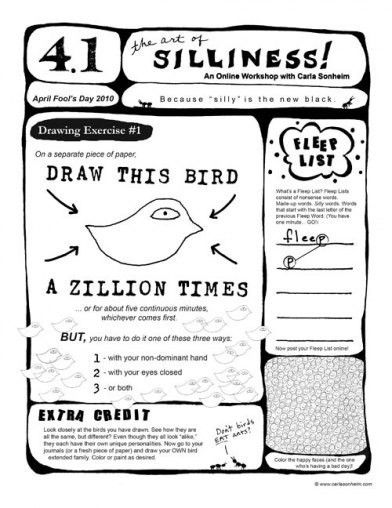 Online Class 30 SILLY Drawing Worksheets PDF by
