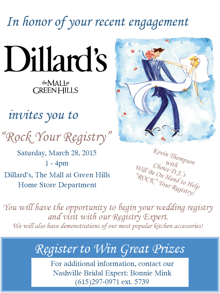 Rock Your Registry Event At Dillard S In The Mall At Green Hills The Pink Bride Dillards Wedding Registry Pink Bride Wedding Book