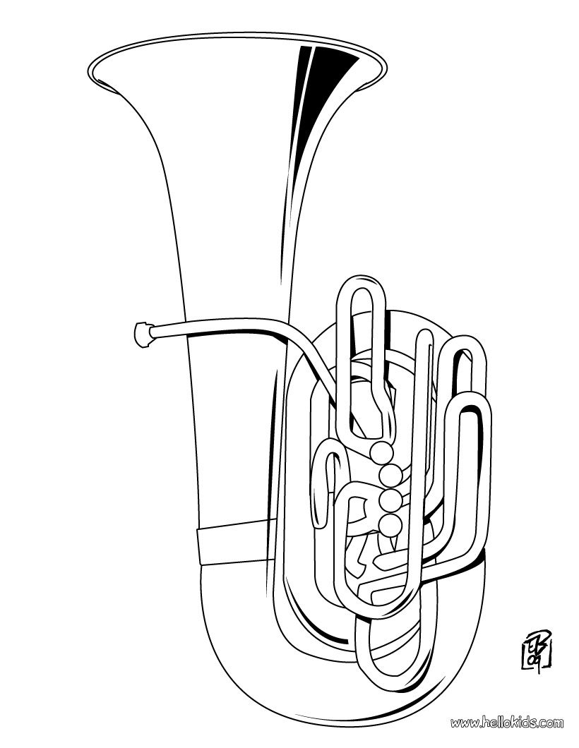 Musical Instrument Coloring Sheets Pages