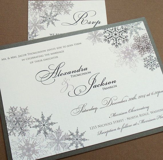 Lacy Snowflake Winter Wedding Invitation December January Weddings Landscape Silver Metallics Sample Or Deposit
