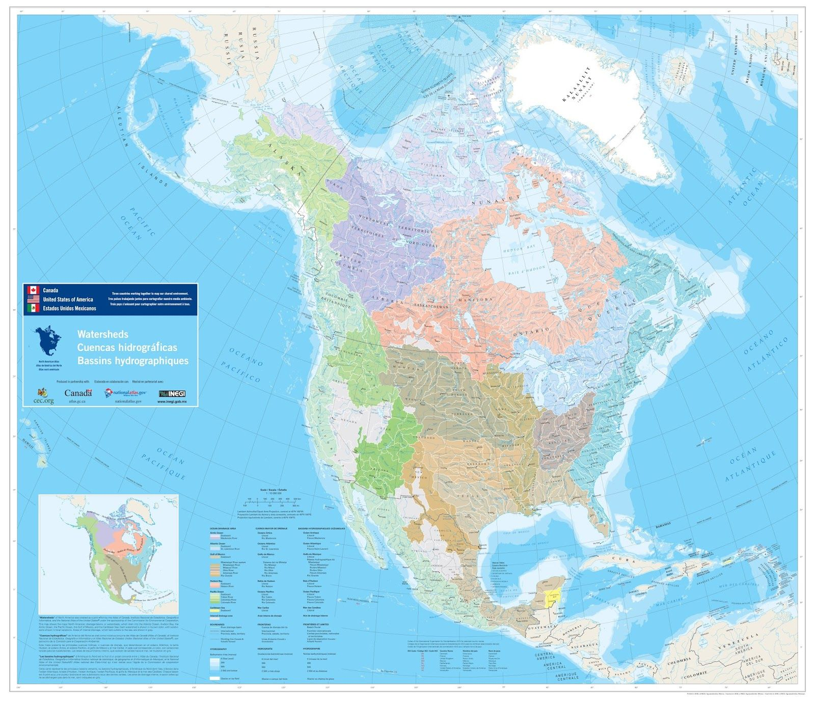 Western North America Map.North American Watersheds North America Map America North America