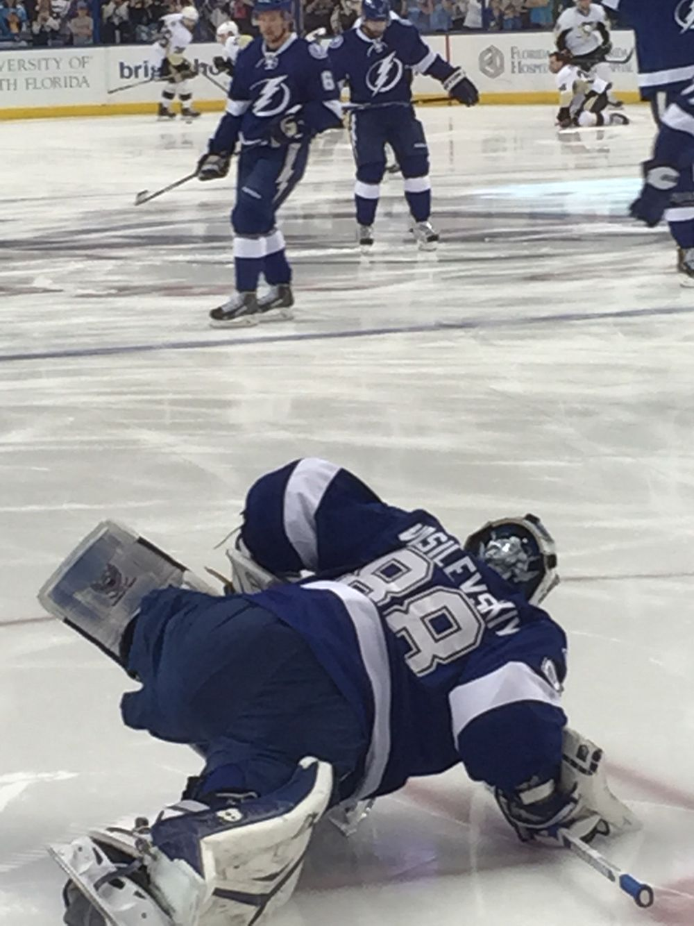 Andrei Vasilevskiy stretching his legs (during pre-game warmups ... d94f6dc10
