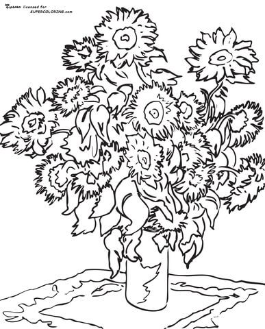 Sunflower By Claude Monet Coloring Page Famous Art Coloring