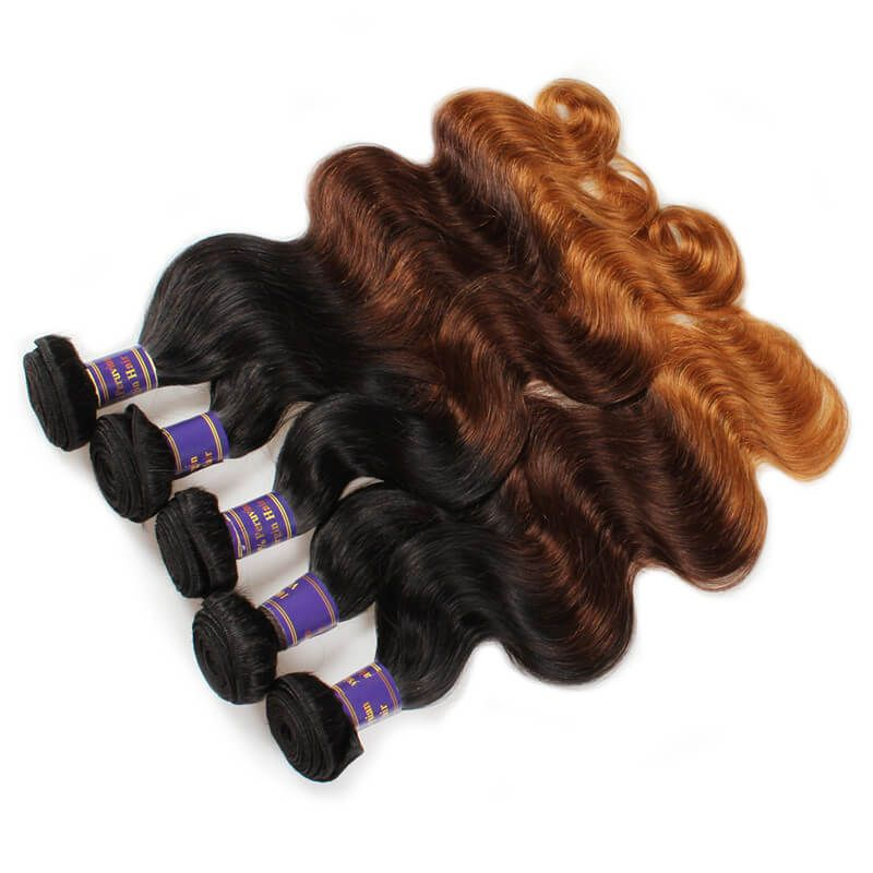 Mink Ombre Hair Colored Hair Extensions Brazilian Body Wave Remy