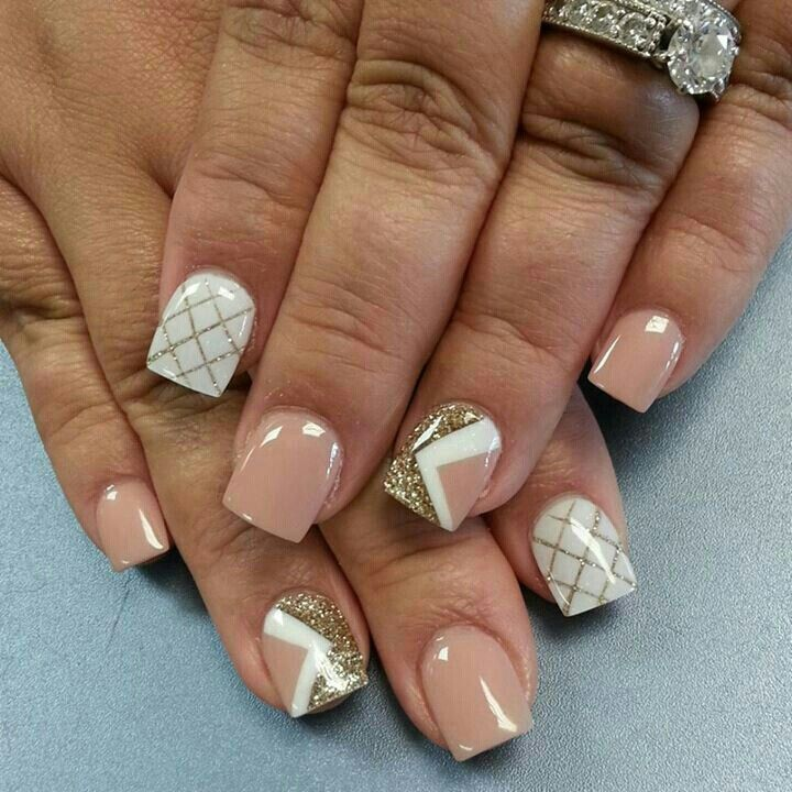Pretty nude and white nails with gold glitter design - Pin By Lisa Gruszewski On Nails! Pinterest Manicure, Makeup